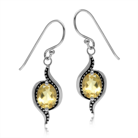 2.2ct. Natural Oval Shape Citrine 925 Sterling Silver Bali/Balinese Style Dangle Hook Earrings