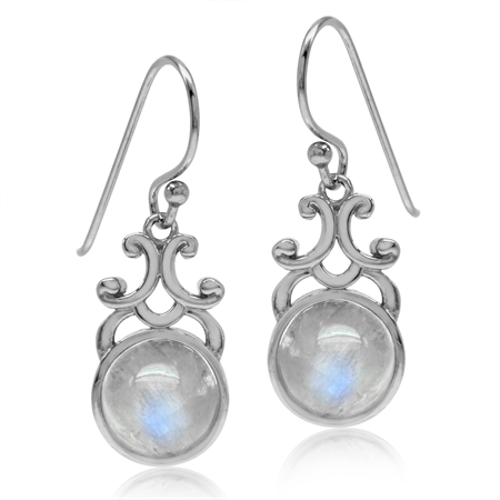 8MM Round Natural Moonstone White Gold Plated 925 Sterling Silver Filigree Swirl Dangle Earrings