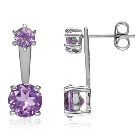 2.84ct Natural Round Amethyst White Gold Plated 925 Sterling Silver 2-Way Stud & Ear Jacket Earrings