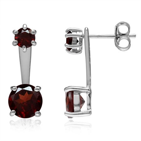 3.66ct. Natural Round Garnet White Gold Plated 925 Sterling Silver 2-Way Stud & Ear Jacket Earrings
