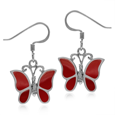 Created Red Coral 925 Sterling Silver Butterfly Dangle Hook Earrings