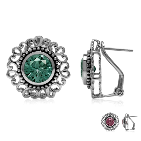 8MM Round Simulated Color Change Alexandrite 925 Sterling Silver Balinese Style Omega Clip Earrings