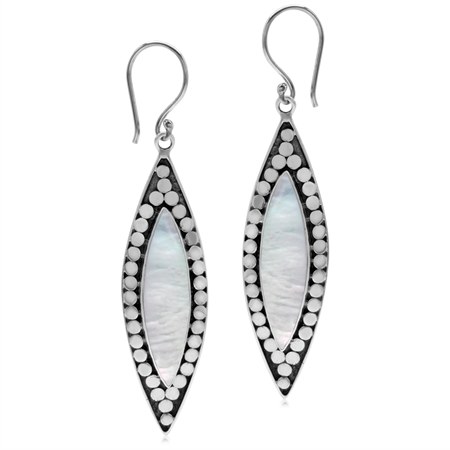 White Mother Of Pearl Inlay 925 Sterling Silver Bali/Balinese Style Drop Dangle Hook Earrings