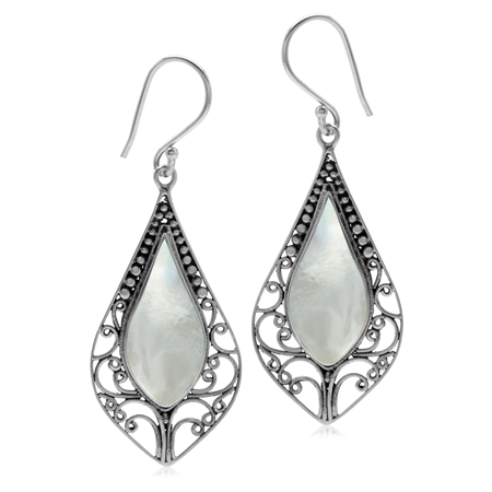 White Mother Of Pearl Inlay 925 Sterling Silver Baroque Inspired Drop Dangle Hook Earrings