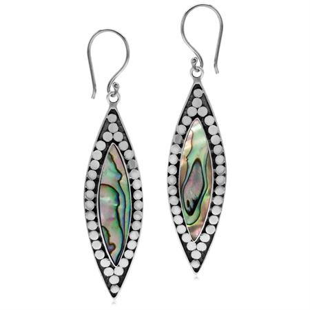 Abalone/Paua Shell Inlay 925 Sterling Silver Bali/Balinese Style Drop Dangle Hook Earrings