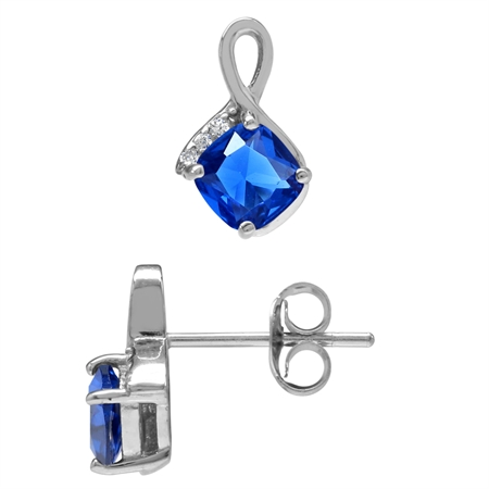 Cushion Shape Synthetic Sapphire Blue & White CZ Gold Plated 925 Sterling Silver Stud/Post Earrings
