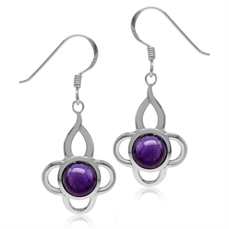 7MM Cabochon Amethyst White Gold Plated 925 Sterling Silver Flower Dangle Hook Earrings