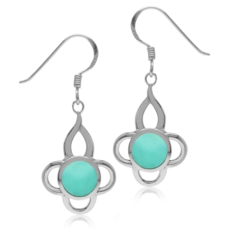 7MM Created Green Turquoise Inlay White Gold Plated 925 Sterling Silver Flower Dangle Hook Earrings