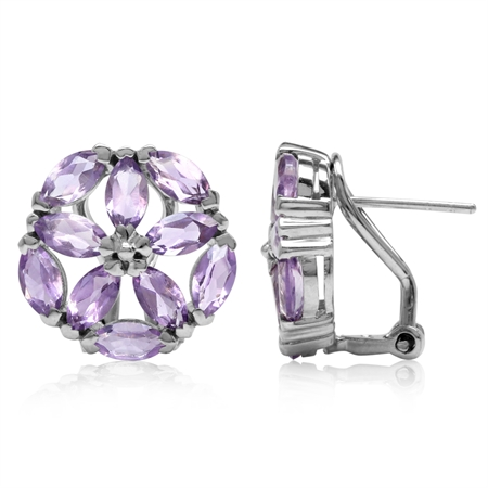 4.8ct. Natural Marquise Shape Amethyst 925 Sterling Silver Flower Omega Clip Post Earrings