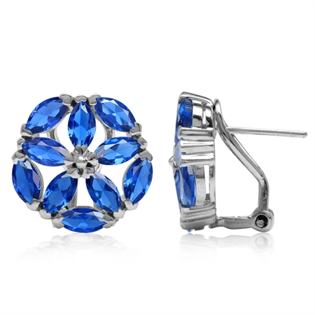 Marquise Shape Synthetic Sapphire Blue 925 Sterling Silver Flower Omega Clip Post Earrings