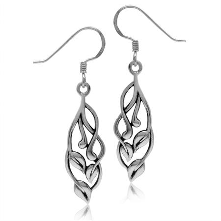 925 Sterling Silver Filigree Leaf Vintage Inspired Dangle Hook Earrings