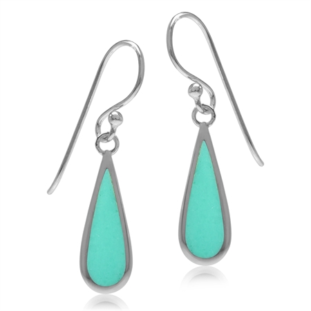 Created Green Turquoise Inlay White Gold Plated 925 Sterling Silver Drop Dangle Hook Earrings