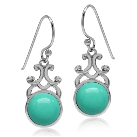 Created Green Turquoise White Gold Plated 925 Sterling Silver Filigree Swirl Dangle Hook Earrings