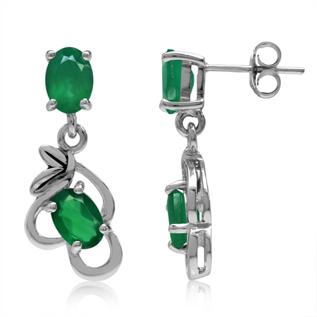 2.88ct. Natural Emerald Green Agate 925 Sterling Silver Leaf Vintage Inspired Dangle Post Earrings