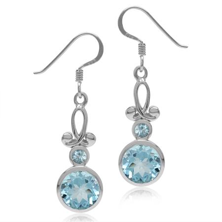 4.94ct. 8MM Genuine Round Shape Blue Topaz 925 Sterling Silver Swirl Dangle Hook Earrings