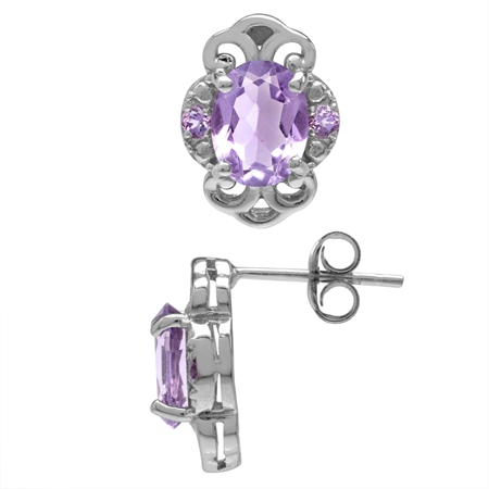 2.44ct. Natural Amethyst White Gold Plated 925 Sterling Silver Filigree Post Earrings