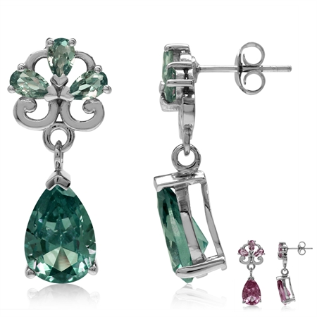 Simulated Color Change Alexandrite White Gold Plated 925 Sterling Silver Drop Dangle Post Earrings