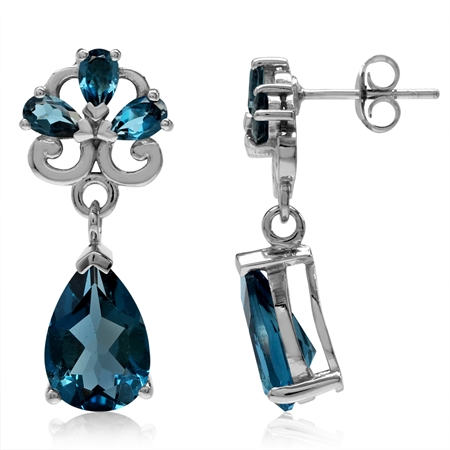 8.34ct. Genuine Pear Shape London Blue Topaz 925 Sterling Silver Drop Dangle Post Earrings