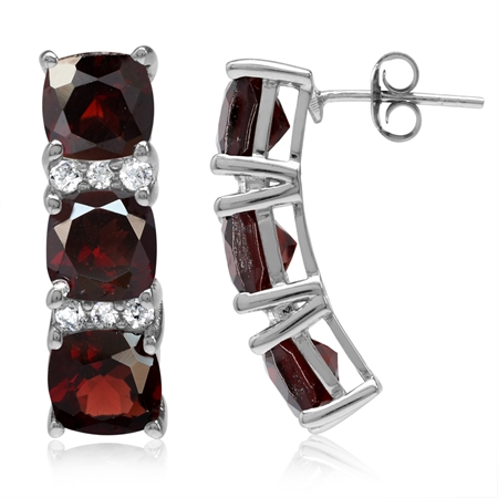 11.1ct. 3-Stone Natural Cushion Shape Garnet White Gold Plated 925 Sterling Silver Post Earrings