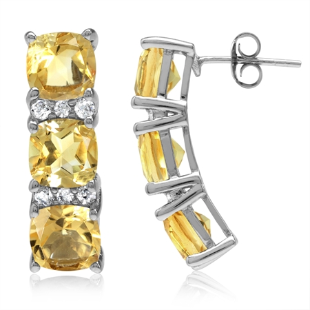 8.04ct. 3-Stone Natural Cushion Shape Citrine White Gold Plated 925 Sterling Silver Post Earrings