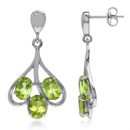 5.28ct. 3-Stone Natural Peridot White Gold Plated 925 Sterling Silver Dangle Post Earrings