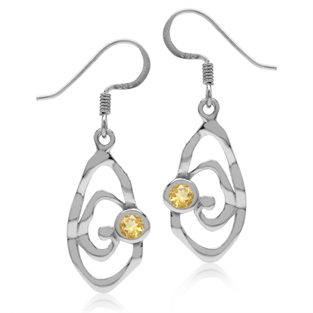 Natural Citrine White Gold Plated 925 Sterling Silver Textured Spiral Dangle Hook Earrings