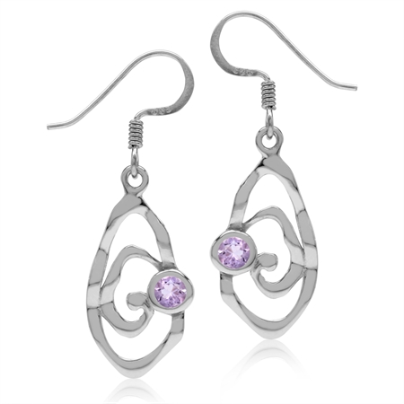 Natural Amethyst White Gold Plated 925 Sterling Silver Textured Spiral Dangle Hook Earrings