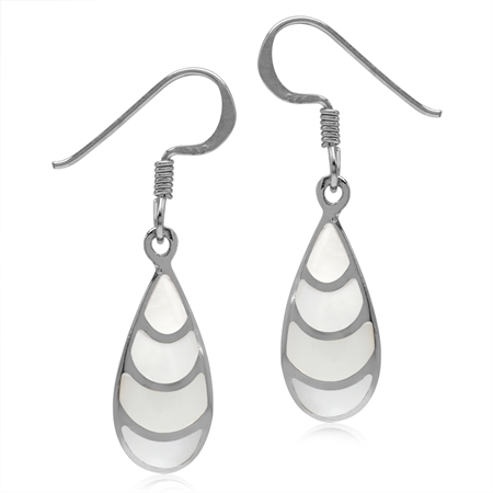 Mother Of Pearl Inlay White Gold Plated 925 Sterling Silver Drop Dangle Hook Earrings