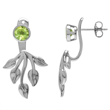 1.1ct. Natural Peridot White Gold Plated 925 Sterling Silver Leaf 2-Way Stud & Ear Jacket Earrings