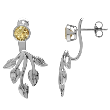 Natural Citrine White Gold Plated 925 Sterling Silver Leaf 2-Way Stud & Ear Jacket Earrings