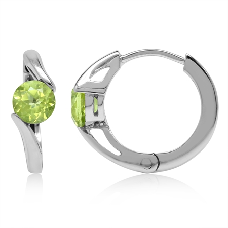 1.1ct. 5MM Natural Round Shape Peridot White Gold Plated 925 Sterling Silver Huggie/Hoop Earrings