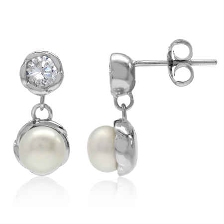6MM Cultured Freshwater Pearl & White CZ 925 Sterling Silver Dangle Stud/Post Earrings