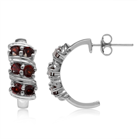 1.8ct. Natural Garnet Double Row White Gold Plated 925 Sterling Silver C-Hoop Earrings