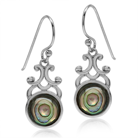 Abalone/Paua Shell White Gold Plated 925 Sterling Silver Filigree Swirl Dangle Hook Earrings
