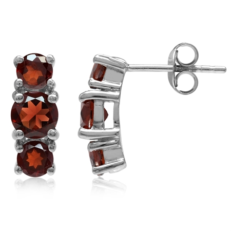 2.58ct. 3-Stone Natural Round Shape Garnet White Gold Plated 925 Sterling Silver Post Earrings