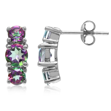 2.34ct. 3-Stone Round Shape Mystic Fire Topaz White Gold Plated 925 Sterling Silver Post Earrings
