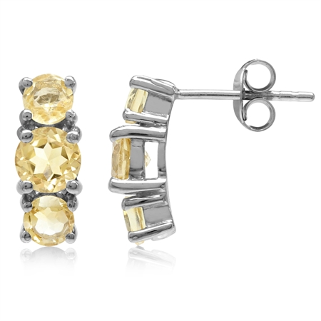 1.92ct. 3-Stone Natural Round Shape Citrine White Gold Plated 925 Sterling Silver Post Earrings