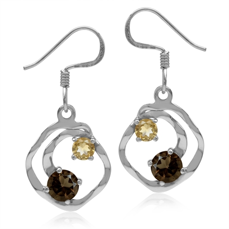 Natural Smoky Quartz & Citrine White Gold Plated 925 Sterling Silver Textured Spiral Dangle Earrings