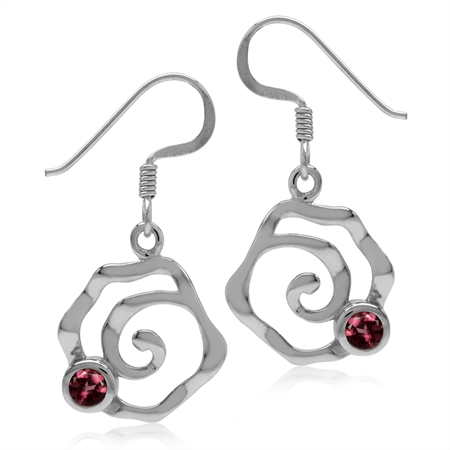 Natural Rhodolite Garnet White Gold Plated 925 Sterling Silver Textured Spiral Dangle Hook Earrings