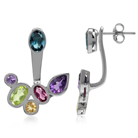 Natural Multi Colored White Gold Plated 925 Sterling Silver Cluster 2-Way Stud & Ear Jacket Earrings