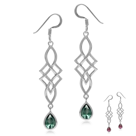 Simulated Color Change Alexandrite 925 Sterling Silver Celtic Knot/Weave Dangle Hook Earrings