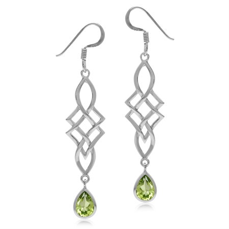 1.46ct. Natural Peridot White Gold Plated 925 Sterling Silver Celtic Knot/Weave Dangle Hook Earrings