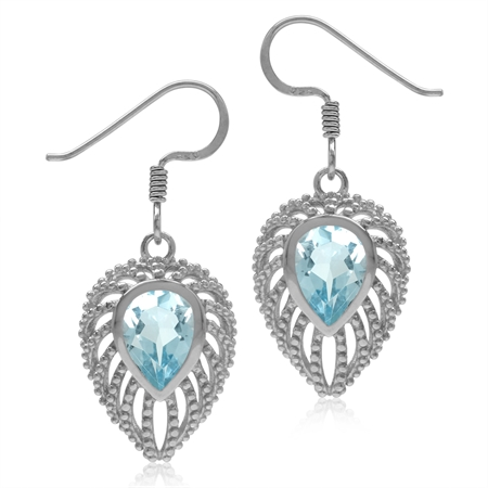 2.6ct. Pear Genuine Blue Topaz 925 Sterling Silver Filigree Peacock Inspired Drop Dangle Earrings