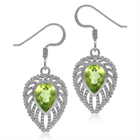 1.92ct. Pear Natural Peridot 925 Sterling Silver Filigree Peacock Inspired Drop Dangle Hook Earrings