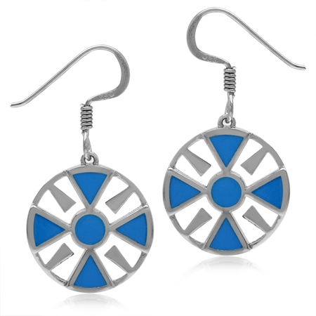 Created Blue Turquoise 925 Sterling Silver Southwest Inspired Circle Dangle Hook Earrings