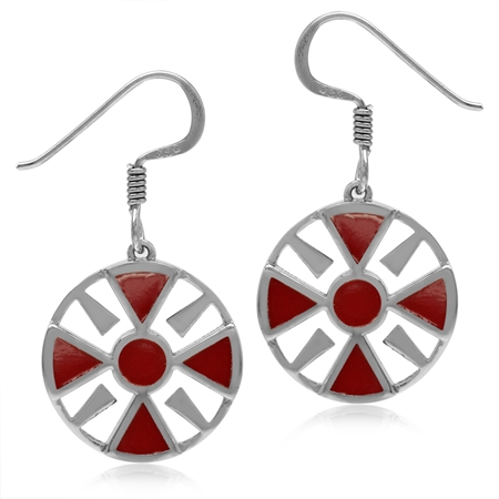 Created Red Coral White Gold Plated 925 Sterling Silver Southwest Inspired Circle Dangle Earrings