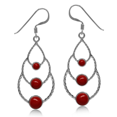 Elongated Created Red Coral White Gold Plated 925 Sterling Silver Drop Dangle Hook Earrings