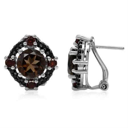 Natural Round Shape Smoky Quartz, Garnet & Black Spinel 925 Sterling Silver Omega Clip Post Earrings
