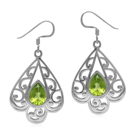 3.36ct. Natural Peridot 925 Sterling Silver Filigree Victorian Style Drop Dangle Hook Earrings