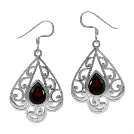 3.38ct. Natural Garnet 925 Sterling Silver Filigree Victorian Style Drop Dangle Hook Earrings
